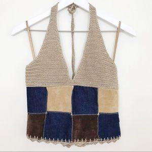 Wilsons Leather Patchwork Hippie Knit Halter Top
